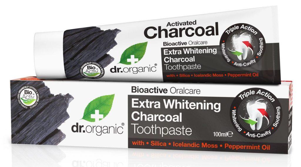 Dr Organic fogkrém aktív szénnel, a fehér fogakért, rúzs és más