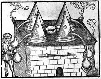 Középkori desztilláló, illatakadémia, rúzs és más