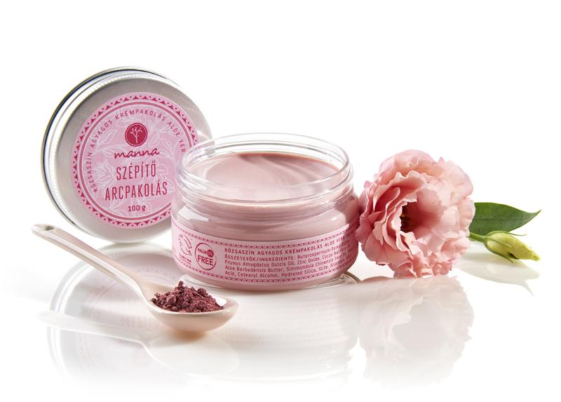 Manna, arckrém, arcpakolás, rózsaszín agyag, vörösáfonya, magolaj, természetes, natúr, rúzs és más