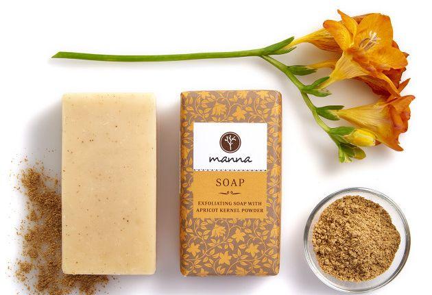 Manna bőrradírozó szappan sárgabarackmag őrleménnyel, bőrradír, natúr, természetes, rúzs és más