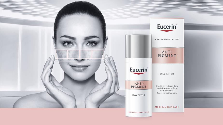 Az Eucerin Anti-Pigment termékcsalád akár már 2 hét alatt is láthatóan halványítja az elszíneződéseket, pigmentfoltokat.