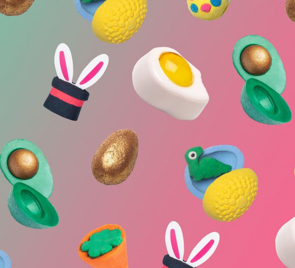lush, húsvét, 2020, nyuszi, tojás, easter, limitált, fürdőbomba, fürdőhab, tusfürdő, vegán, golden egg, easter egg, rúzs és más, habfürdő