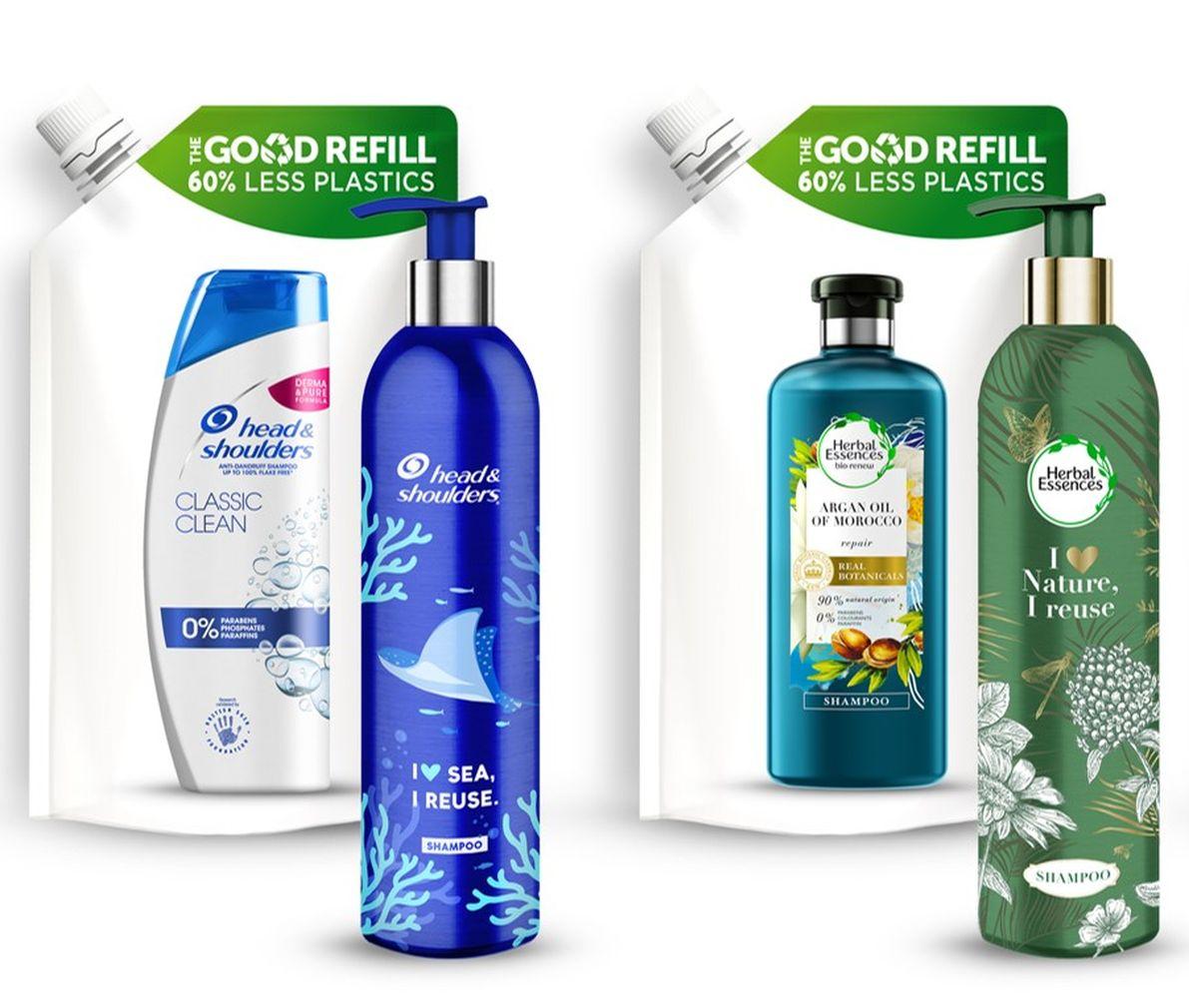 p&g, újratölthető, alumínium, környezetbarát, műanyag hulladék, műanyagmentes, Aussi, Head and Shoulders, pantene, herbal, rúzs és más