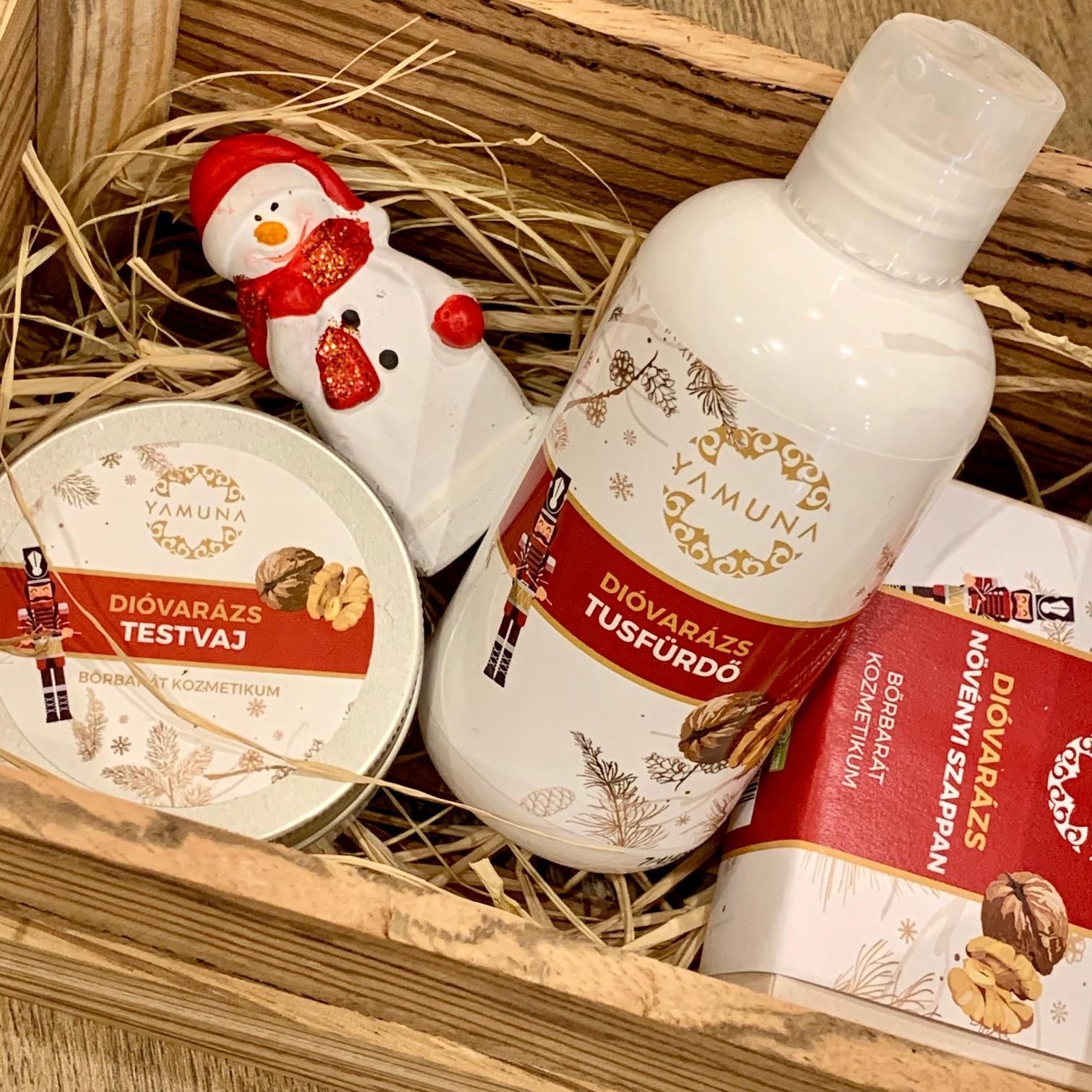 yamuna, dióvarázs, karácsonyi, limitált, termékcsalád, testápolás, rúzs és más, testvaj, növényi szappan, diótörő